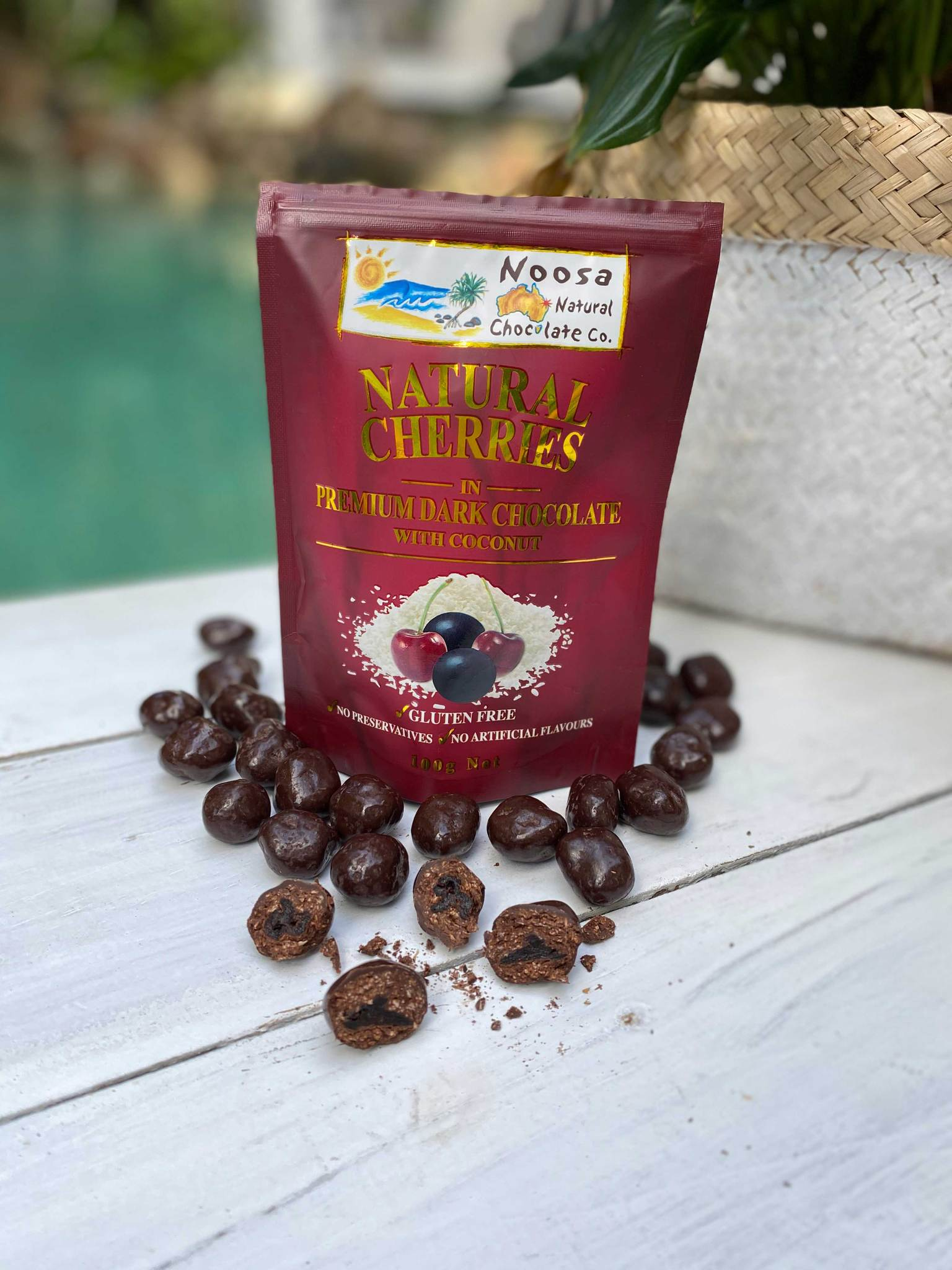 Noosa Natural chocolate Co Natural Cherries in Premium Dark chocolate with Coconut