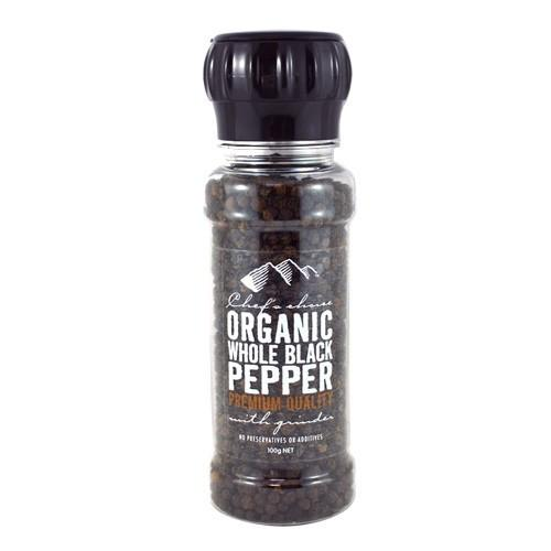 Chef's Choice Organic Whole Black Pepper with Grinder